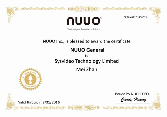 NUUO Central Management Software Technical Certification- General