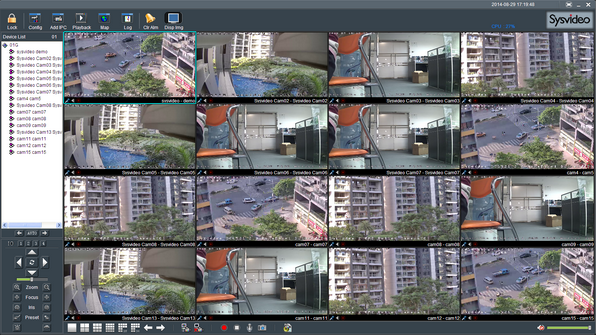 Sysvideo SC6000 Series IP Camera Management Software XCenter UI: Main Window 16ch