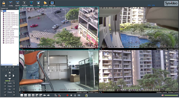 Sysvideo SC6000 Series IP Camera Management Software XCenter UI: Main Window 4ch